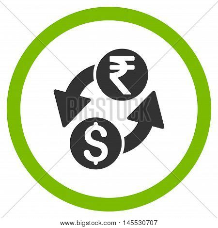 Dollar Rupee Exchange vector bicolor rounded icon. Image style is a flat icon symbol inside a circle, eco green and gray colors, white background.