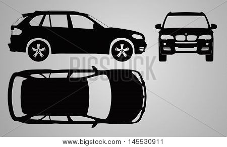 Front, top and side car projection. Flat illustration for designing icons