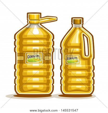 Vector logo 2 big yellow plastic Bottle with Corn Oil and label, gallon canister filled maize cooking oil, cartoon large container with viscous liquid with cap and handle, closeup isolated on white.