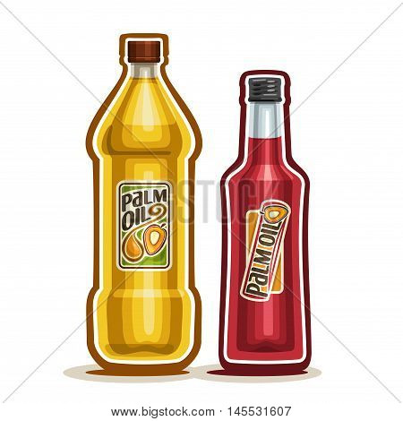 Vector logo 2 yellow plastic and red glass Bottle with pure Palm Oil fruits and label, bottles refined virgin cooking oil, cartoon container natural organic liquid with cap, closeup isolated on white
