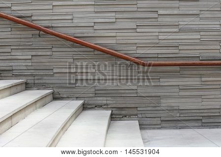 Walls and walkways with handrails for safety concept.