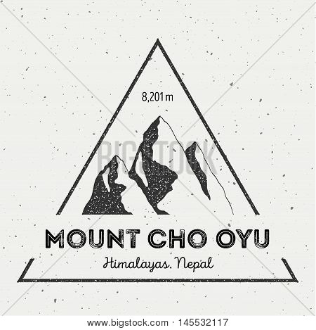 Cho Oyu In Himalayas, Nepal Outdoor Adventure Logo. Triangular Mountain Vector Insignia. Climbing, T