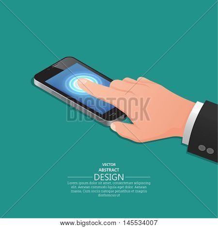 Hand finger on the touch screen of mobile phone similar to the iPhone. A vector illustration in isometric 3D style.