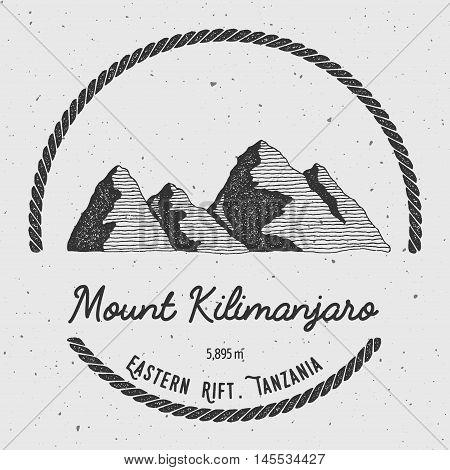 Kilimanjaro In Eastern Rift, Tanzania Outdoor Adventure Logo. Round Trekking Vector Insignia. Climbi