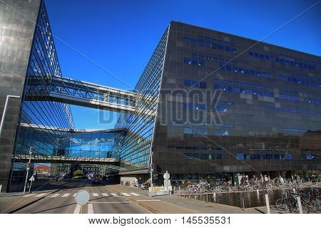 Copenhagen Denmark - August 16 2016: The Black Diamond The Copenhagen Royal Library (Det Kongelige Bibliotek) is the national library of Denmark in Copenhagen Denmark