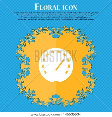 Speedometer Icon Icon. Floral Flat Design On A Blue Abstract Background With Place For Your Text. Ve