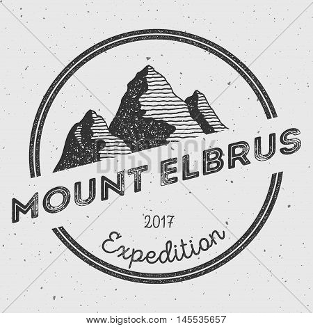 Elbrus In Caucasus, Russia Outdoor Adventure Logo. Round Expedition Vector Insignia. Climbing, Trekk