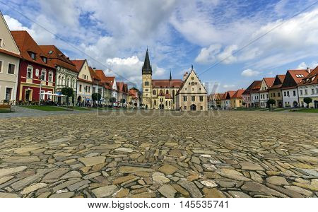 Old town square in Bardejov by day, Slovakia