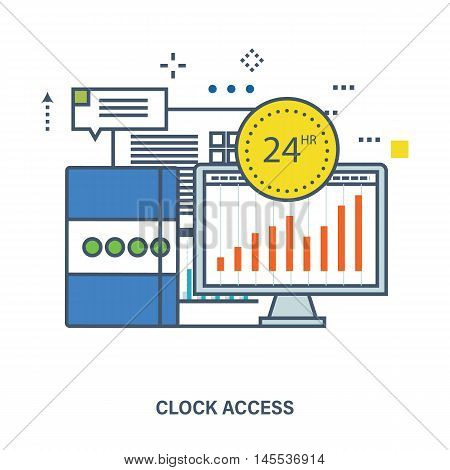 Concept of 24 hour access and office work. Color Line icons. Flat Vector illustration