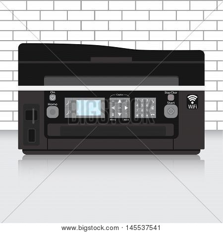 Multifunction printer in modern office with brick wall. Office printer copier and scanner. Vector illustration