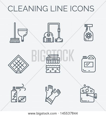 Modern clean linear style. Cleaning equipment and appliance design elements. For web, banners, blogs, poster.