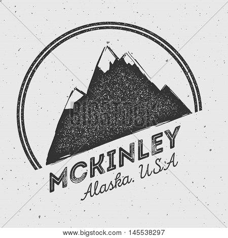 Mckinley In Alaska, Usa Outdoor Adventure Logo. Round Mountain Vector Insignia. Climbing, Trekking,