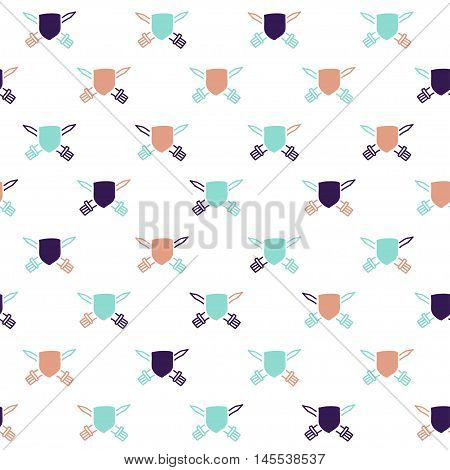 Vector hand drawn cartoon seamless pattern with shields and swords. History heraldic theme. Colored shield pattern for paper textile polygraphy game web design