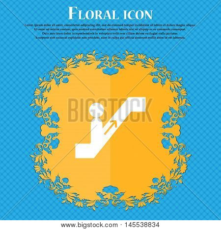 Escalator Icon Icon. Floral Flat Design On A Blue Abstract Background With Place For Your Text. Vect