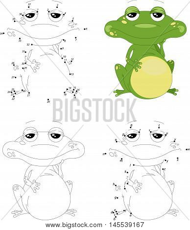 Cartoon Green Frog. Coloring Book And Dot To Dot Game For Kids