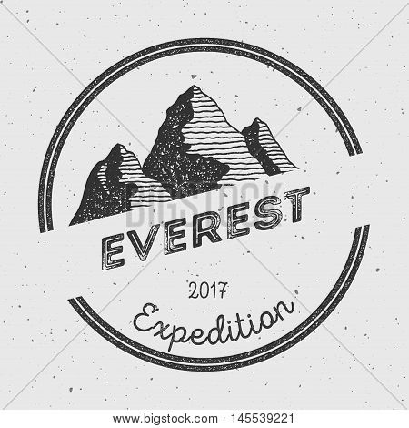 Everest In Himalayas, China Outdoor Adventure Logo. Round Expedition Vector Insignia. Climbing, Trek