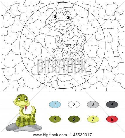 Cartoon Snake. Color By Number Educational Game For Kids
