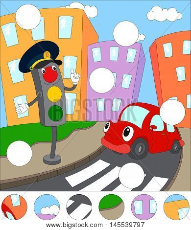Cartoon Red Car And Traffic Lights. Complete The Puzzle And Find The Missing Parts Of The Picture. G