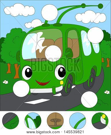 Cartoon Trolleybus In The Forest Road. Complete The Puzzle And Find The Missing Parts Of The Picture