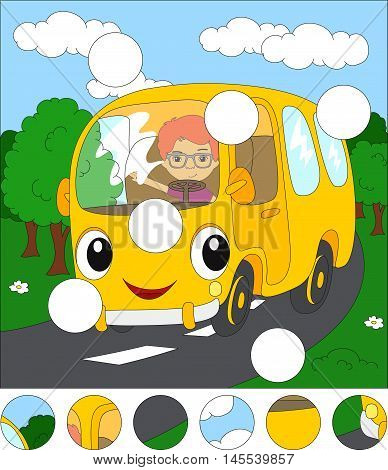 Cartoon Yellow Bus In The Forest Road. Complete The Puzzle And Find The Missing Parts Of The Picture