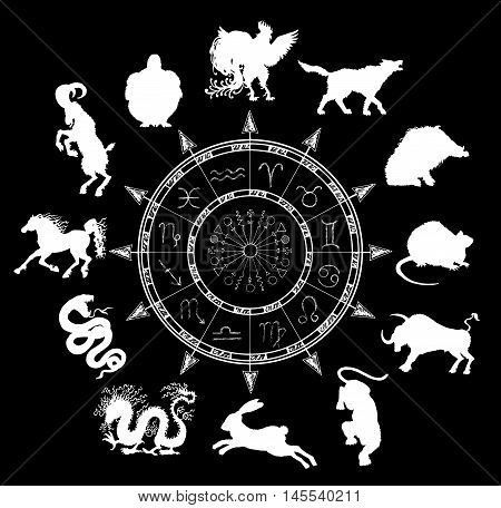 Black chart with horoscope symbols and chinese zodiac animals silhouettes. Asian new year calendar signs. Graphic set with hand drawn esoteric and occult illustration
