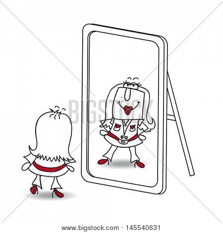 Be yourself miss. Penelope looks in the mirror. It is a metaphor of  keeping yourself in the life