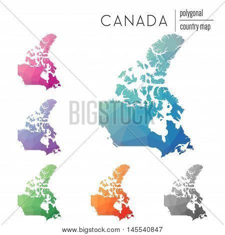 Set Of Vector Polygonal Canada Maps. Bright Gradient Map Of Country In Low Poly Style. Multicolored