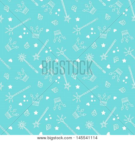 Seamless Pattern with Crowns and Magic Wands on blue background, Fantasy, Fairytale, kids fashion, vector background
