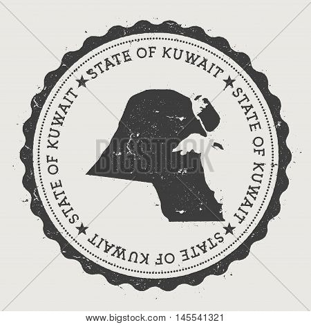 Kuwait Hipster Round Rubber Stamp With Country Map. Vintage Passport Stamp With Circular Text And St
