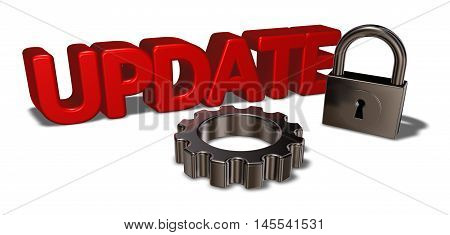 the word update padlock and gear wheel - 3d rendering