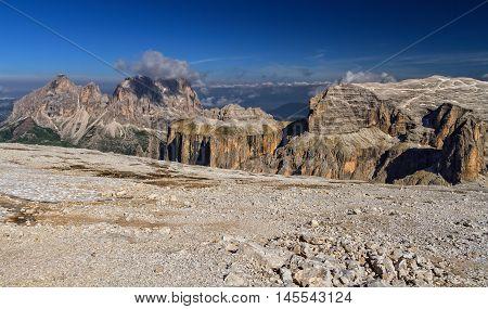 Sella group and Sassolungo mount from Sass Pordoi Italian Dolomites