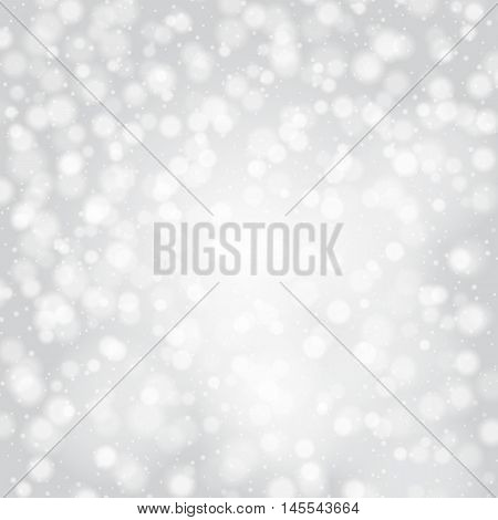 Bokeh silver. Pastel background with blurred lights. Colourful Christmas wallpaper. Festive decoration of the new year. Snow abstract backdrop. Winter pattern. Vector illustration.