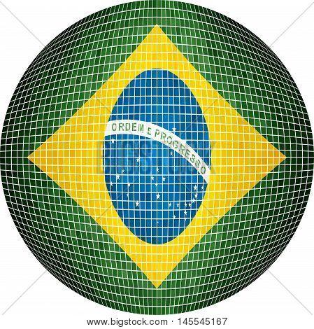Ball with Brazil flag - Illustration,  Sphere Brazilian flag vector,   Abstract Grunge Mosaic flag of Brazil