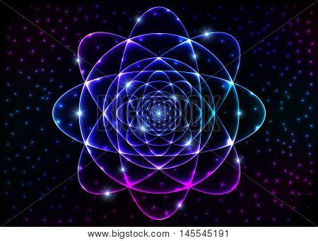 Sacred geometry symbol. Mandala mystery element. Background for space, universe, big bang, alchemy, religion, philosophy, astrology, science, physics, chemistry and spirituality themes.