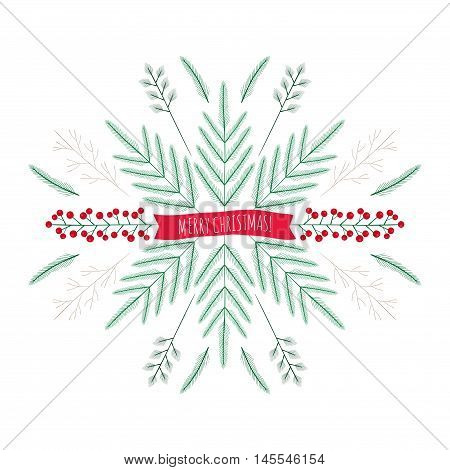 Vector Merry Christmas Greeting Card. Pattern Of Floral Elements  Tree Branch, Fir, Twig And Berries