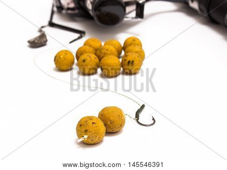 Boilies - Fishing Bait and accessories isolated on white