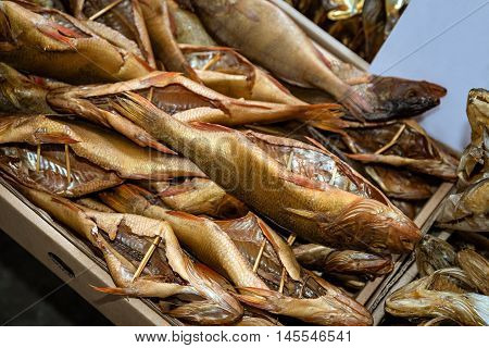 Seafood, top view of group smoked fish, close-up