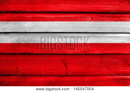 Flag Of Vaduz, Lichtenstein, Painted On Old Wood Plank Background