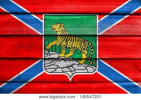 Flag Of Vladivostok, Primorsky Krai, Russia, Painted On Old Wood Plank Background