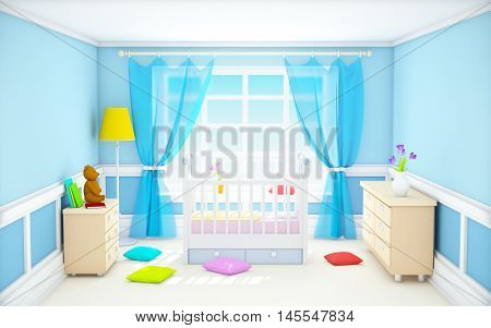 Blue baby's bedroom with crib in classic style. 3d illustration.