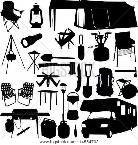 camping equipment silhouettes