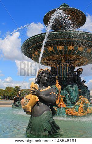 monumental fountains located in the Place de la Concorde in the center of Paris