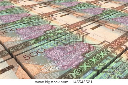 Turkmenistan money bills stacks background. 3D illustration.