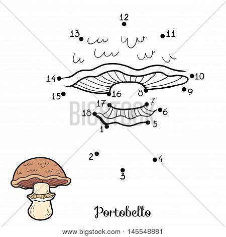 Numbers Game For Children. Edible Mushrooms, Portobello