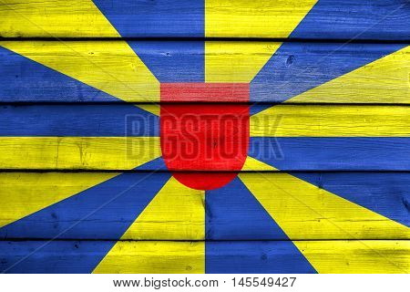 Flag Of West Flanders Province, Belgium, Painted On Old Wood Plank Background