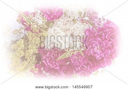 soft floral background with roses and alchemilla posy