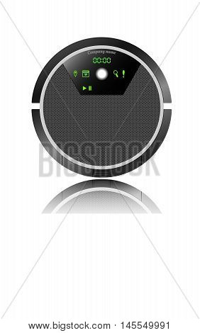 vector illustration of a robotic vacuum cleaner with electronic display with reflection