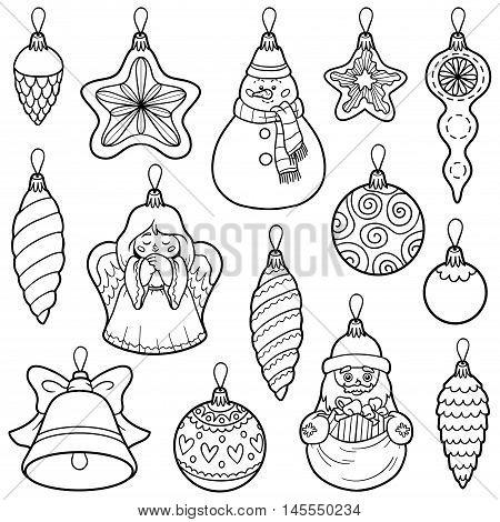 Vector Set Of Christmas Tree Toys
