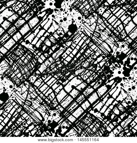 Splattered with dots seamless wallpaper pattern. Hand-drawn sprayed blots painted illustration. Artistic design of ink splashes on the surface. Creative backdrop elements for textile. Grunge texture.