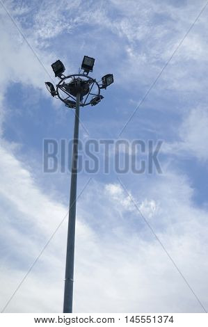 Spot Lights Tower On Blue Sky And Clouds With Copy Space, Natural Color Picture Style Image,selectiv